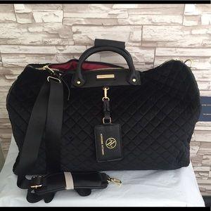 Adrienne Vittadini Velvet Quilted Black Duffel Bag